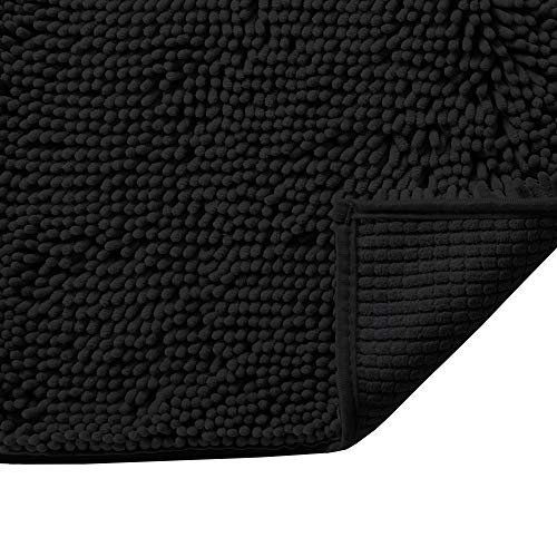 Plush Luxury Chenille Bath Rug (24x17) Extra Soft and Absorbent Shaggy Bathroom Mat Rugs, Machine Wash/Dry, Strong Underside, Plush Carpet Mats for Kids Tub, Shower, and Bath Room(Black)