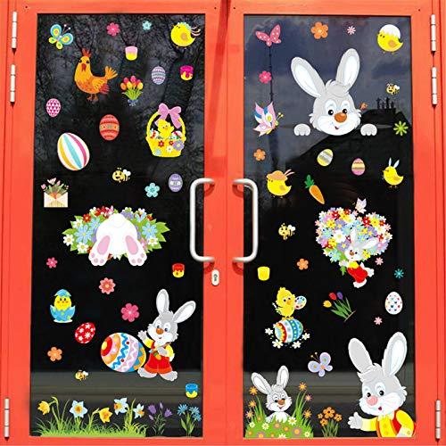 Alvinm Ostern Fensterbilder Selbstklebend,Fensterdekoration Ostern Wiederverwendbar mit Hasen Ostereier Muster, Fenster Aufkleber Dekorationen für Ostern PVC Doppelseiten Fenster Abziehbilder