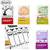 160 Pcs Paper Index Tabs Flags Haftnotizen, süße Katze,Vogel,Panda, Geisterform,tragbares Mini...