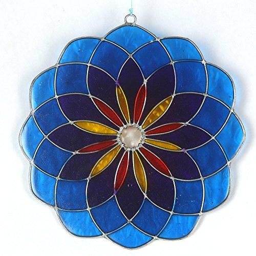 ART-CRAFT Garten Deko Sonnenfänger Suncatcher Fensterschmuck Fenster-Dekoration Mandala blau