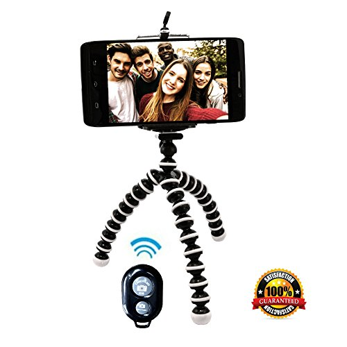Flexible Tripod Stand with Remote for Smartphones & Cameras Compact Lightweight Mini Inexpensive