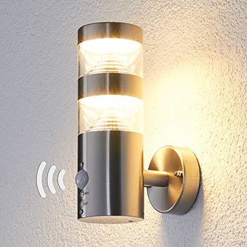 Lindby LED Wandleuchte außen 'Lanea' mit Bewegungsmelder (spritzwassergeschützt) (Modern) in Alu aus Edelstahl (1 flammig, A+, inkl. Leuchtmittel) - LED-Außenwandleuchten Wandlampe, Led Außenlampe