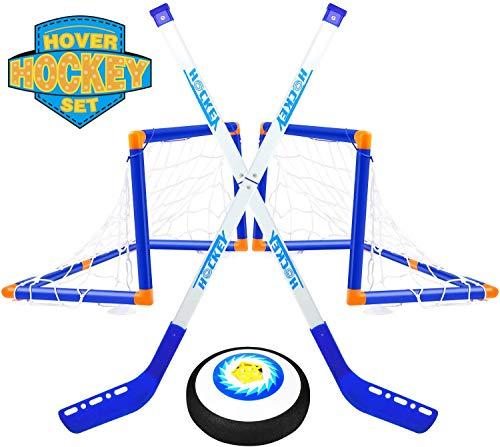 TwobeFit Air Power Hover Hockey Set mit 2 Toren, Super Spaß beim Hockey in Innenräumen, Perfekt für Kinder Jungen Mädchen