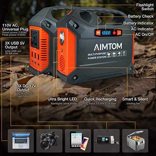 AIMTOM Portable Solar Generator, 42000mAh 155Wh Power Station, Emergency Backup Power Supply W/Flashlights, for Camping, Home, RV, Travel, Outdoor (110V/ 100W AC Outlet, 3X 12V DC, 3X USB Output)
