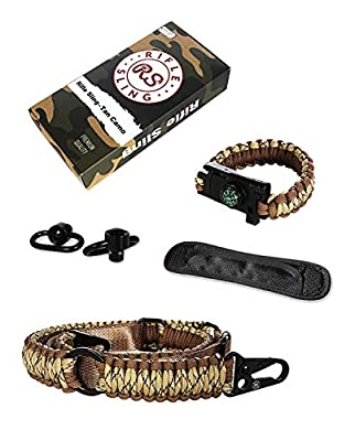RS RIFLE SLING Traditional 2-Point 550 Paracord Complete Bundle | Two Point Strap | Bonuses Sling Swivels & Survival Bracelet