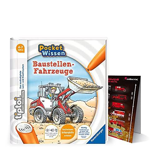 tiptoi Ravensburger Buch 4-7 Jahre | Pocket Wissen - Baustellen-Fahrzeuge + Kinder Feuerwehr Auto Poster | Pocketwissen, Tip TOI