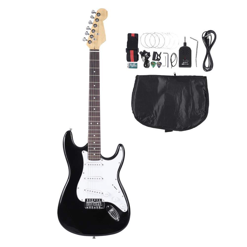 Cheap 39in Wooden 6-String Electric Guitar Wood Travel Guitar Includes Tuner Set of Strings Strap Picks Storage Bag Wood Fingerboard Official Learn to Play Guitar for Beginners Black Friday & Cyber Monday 2019