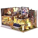 Kit de casa de muñecas en miniatura navideña de bricolaje, mini kits de modelo de casa de muñecas de madera con muebles LED, regalo de cumpleaños para el día de los niños, decoración del hogar