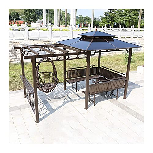 Home Equipment Gazebo permanente para césped de patio Gazebo de patio Gazebo al aire libre Gazebo Villa Garden Gazebo Estante de uva con silla columpio y escritorio para jardín Juego de muebles de