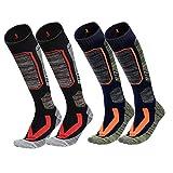 Ski Socks 2 Pairs Pack,Knee High Socks for Men Women Unisex Thick Snow Skiing Snowboard Socks (Fits womens 6-13, fits mens 7-12, Black +Blue)