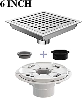 Ushower Square Shower Drain 6 Inch, Stainless Steel Square Drain Brushed Nickel Finish with Drain flange kit