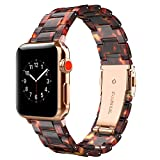 Wearlizer Compatible with Apple Watch Band 38mm 40mm Womens for iWatch SE Lightweight Resin Wristband Bracelet Mens Strap Series 6 5 4 3 2 1-(Deep Rose Gold+Tortoise, 38mm/40mm)