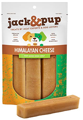 Jack&Pup Himalayan Dog Chew - Large Yak Chews for Dogs (1lb Bag) Premium Long Lasting Yak Cheese Dog Treats - Natural Dog Chew Sticks; Excellent Rawhide Alternative