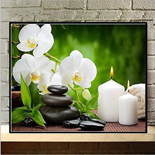 ZXXGA Pintura Diamante,Vela Orquídea Blanca Diamond Painting 40X50Cm,Crystal Bordado Punto De Cruz Arte Craft Suministro para Decoración De La Pared del Hogar