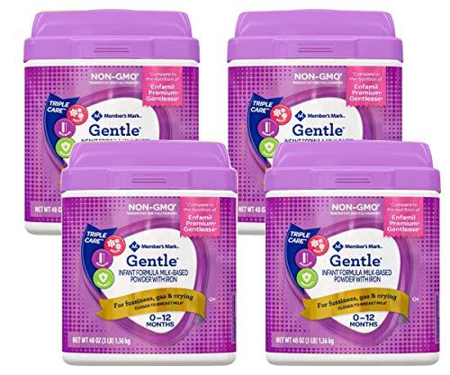 Member's Mark Premium Non-GMO Infant Formula, Gentle 48 oz. Scoop Included (Pack of 4)
