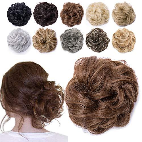 TESS Haarteil Dutt Haargummi mit Haaren Gewellt Dick Haarknoten Hochsteckfrisuren günstig Haarverlängerung Extensions für Damen 40g Rehbruan