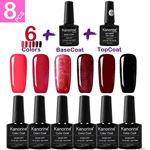 KANORINE 8pcs Nail Gel polish red series Set (6 colors + base & top coat) Soak off UV/LED Gel Nail Polish Long Lasting Gel Varnish Manicure Set 10ml x8pcs