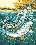 Pintura al óleo de bricolaje por números Pintura acrílica de animales Kits de pintura en lienzo para colorear por números Pez delfín Unframe Decoración para el hogar A12 40x50cm