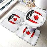 Juego de alfombrillas de baño de franela de The Flag-of-Canada para baño, suaves almohadillas antideslizantes y almohadillas de contorno, 3 piezas