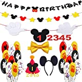 Mickey Mouse Party Supplies, Mickey Balloons Decorations with Happy Birthday Banner Hat Bow Ties Ear Headband Mickey Theme Party for Baby Shower Birthday Party