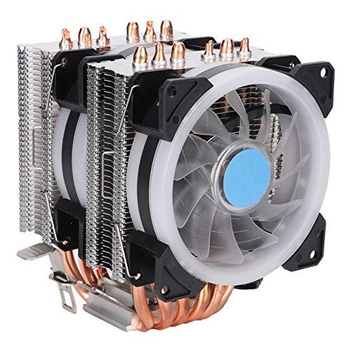 WISENOVO T90 6 tubos de calor doble CPU enfriador 12 V 3 pines luces coloridas ventilador de refrigeración por aire para AMD