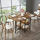 Folding Dining Table, Tribesigns Expandable Dining Table with Double Drop Leaf, Extra 2-Tier Storage Shelf, 2 Lockable Casters for Home Kitchen Use, Chairs Not Included