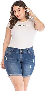 POPTIME Women's Mid Waist Elastic Denim Short Jeans for Plus