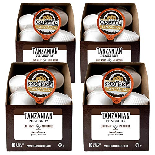 Fresh Roasted Coffee LLC, Tanzanian Peaberry Coffee Pods, Light Roast, 72 Count