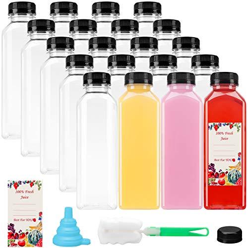 16oz 20pcs Empty PET Plastic Juice Bottles Reusable Clear Disposable Containers