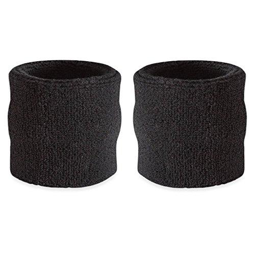 gymadvisor–Banda de Muñeca 10cm toalla de rizo de gimnasia de mano Guardia Protección, negro
