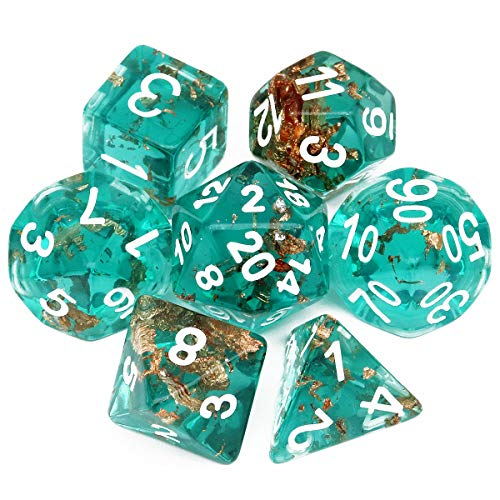 Haxtec Teal DND Dice Set 7PCS Handmade Gold Leaf Resin Polyhedral Dice for Roleplaying Games Dungeons and Dragons-Wonderland
