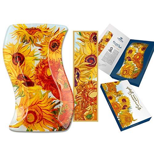 CARMANI - Plaque rectangulaire ondulée décorative imprimée Tournesols par Vincent Van Gogh 15x23cm