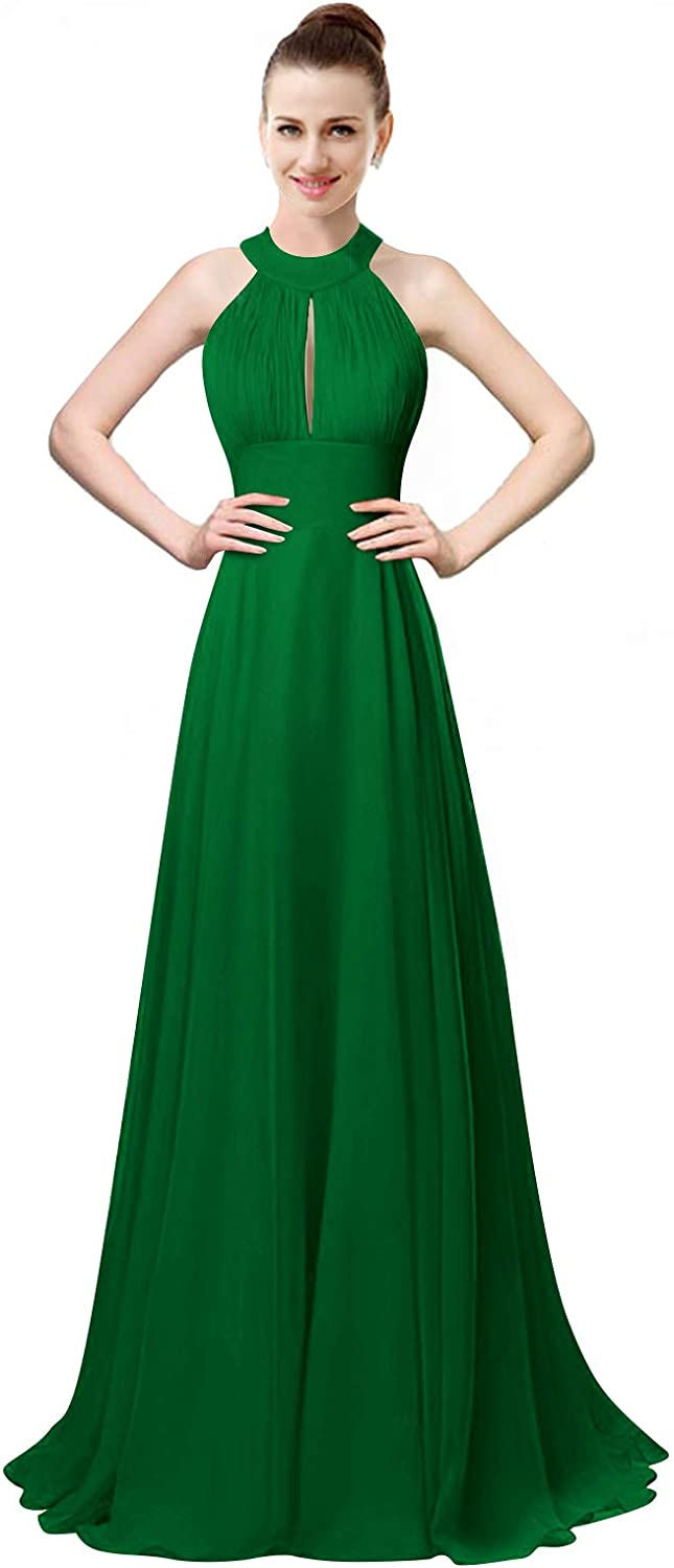 Judy Ellen Women Halter Neck Sleeveless Long Bridesmaid Dress Party Gown J105LF