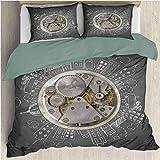 Reloj Juegos de Cama Funda nórdica Alarma de Tiempo Edificio de Nube Funda nórdica Juego de Cama y Funda de Almohada Tamaño Completo