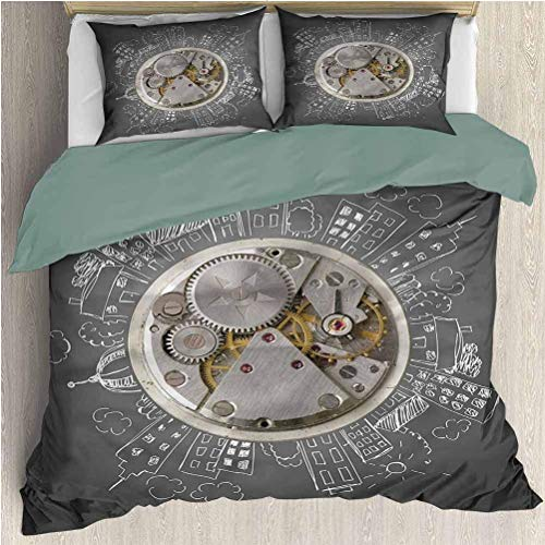 Reloj Juegos de Cama Funda nórdica Time Alarm Building Cloud Funda nórdica Juego de Cama y Funda de Almohada Tamaño Twin XL
