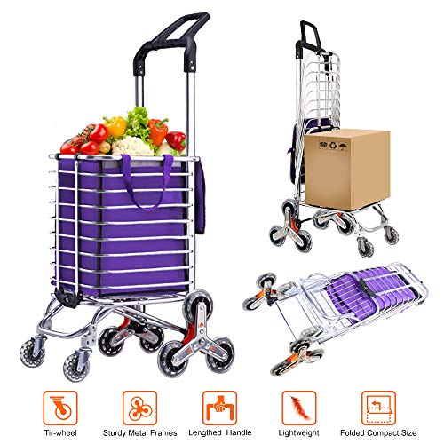 AmnoAmno Folding Shopping Cart-Stair Climbing Cart- Transit Utility Cart-Durable Folding Design for Easy Storage (Medium)