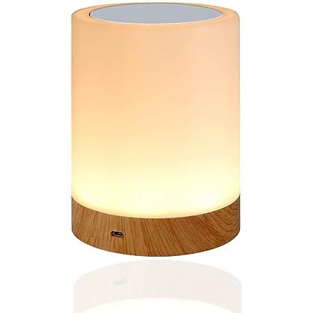 Amouhom Veilleuse LED, Lampe de Chevet Veilleuse Enfant avec Contrôle Tactile et USB Rechargeable et Changement de Couleurs RGB Dimmable Lampe de Table pour La Chambre et Le Salon