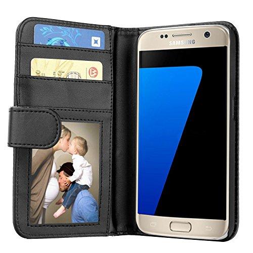 Samsung Galaxy S7 Hülle, EnGive Premium Wallet Ledertasche mit Standfunktion und Karte Halter für Samsung Galaxy S7 case cover - Schwarz