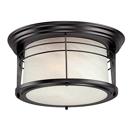 Westinghouse Lighting 05937003861 Westinghouse 6674600 Senecaville Two-Light Exterior Flush-Mount Fixture, Weathered Bronze Finish on Steel with White Alabaster Glass, 1