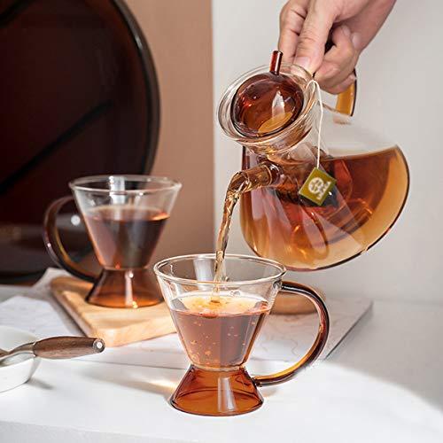 IwaiLoft 手作り 耐熱ガラス ティーポット ティーカップ セット ティーセット ギフト 紅茶ポット フルーツティー リーフティー 花茶 工芸茶 ハーフティー に 直火可 IL-GS03 (北欧タイプ, 500ml)