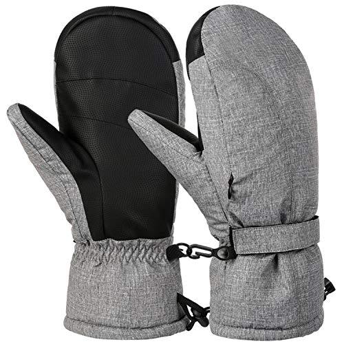 Gants d'hiver Chauds pour Homme et Femme Style décontracté Sports de Plein air Gants de Snowboard épais, Femme, Gris, Large