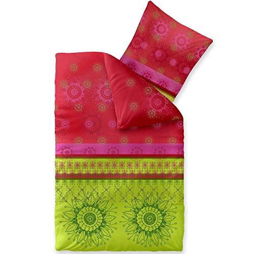 CelinaTex Fashion Lindsay Bettwäsche 135 x 200 cm 2teilig Baumwolle Blumen Grün Rot
