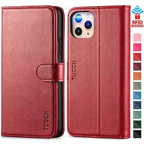 TUCCH Hülle für iPhone 11 Pro Max, TPU Handyhülle zum Klappen, Schutzhülle [Auto Sleep/Wake] [Kartenfach] [Magnetverschluss] [Standfunktion], RFID Etui Case Kompatibel für iPhone 11 Pro Max (6,5) Rot