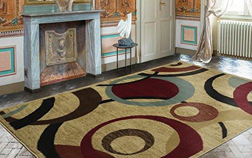 "Ottomanson Royal Collection Contemporary Abstract Circle Design Area Rug, 7'10"" X 9'10"", Red"
