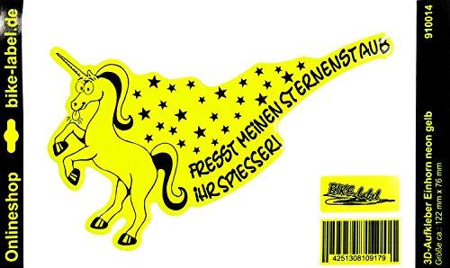 Aufkleber/Sprüche 3D - Fresst Meinen Sternenstaub. 910014 - in NEON-Gelb - kein billiger Folienaufkleber - geeignet für Auto, Motorrad, Handy, Laptop, Tablet und alle glatten Oberflächen
