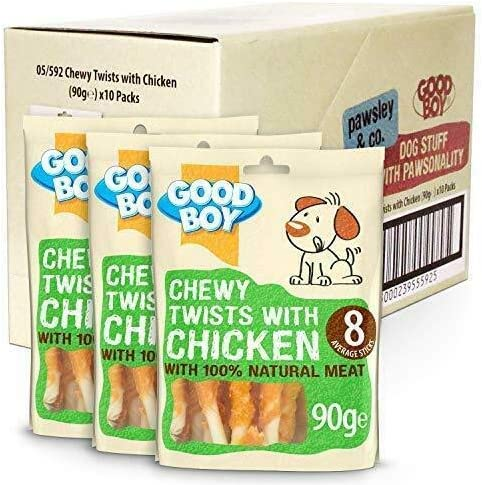 Chewy Twisters with Real Chicken 90 g (10 Packs) – Dogs Corner