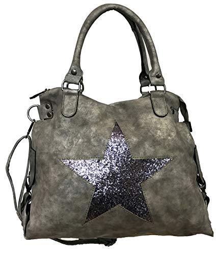 Stern Glitzer Damen Tasche Star Fashion Shopper Henkeltasche Glanz Style Bag (Grau)