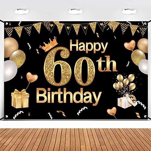 TaimeiMao 60.Geburtstag Dekoration Schwarzes Gold,Geburtstag deko,60 Mann und Frau Geburtstag deko,Geburtstag Party Dekor,60.Geburtstagsdeko,Geburtstag Luftballons für Party Deko,Geburtstagsdeko