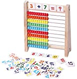 Education Abacus for Kids Early Math - 10 Row Wooden Counting Frame with Number 1-100 Cards - Teach Counting, Addition and Subtraction Math Toys, Preschool Boys and Girls Gift 3 Year Olds and Up