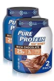 Pure Protein Powder, Natural Whey Protein, Low Sugar, Gluten Free, Rich Chocolate, 1.75 lbs, 2 Pack